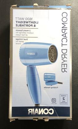 Conair 1600 Watt Compact Hair Dryer with Folding Handle, Dua
