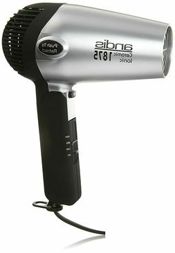 Andis 1875-Watt Fold-N-Go Ionic Hair Dryer, Silver/Black NEW