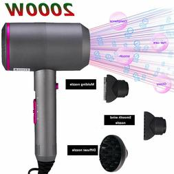 RESUXI 2000W Hair Dryer Comb 3 Gears Adjust Negative Ions Lo