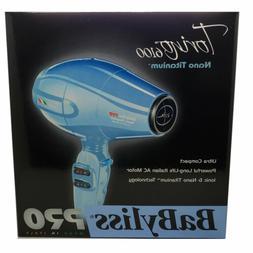 BabylissPro Nano Torino Blue Hair Dryer w/Diffuser & 3 Nozzl
