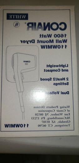 Brand New Conair 1600 Watt Wall Mount Dryer 110WMIW