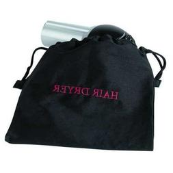 Hair Dryer Bag, 12x12In, Black, Cotton/Poly