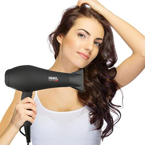 1875W Professional Hair Dryer,Negative Ionic Blow Motor Low Hair Blow with Diffuser & Comb,Black