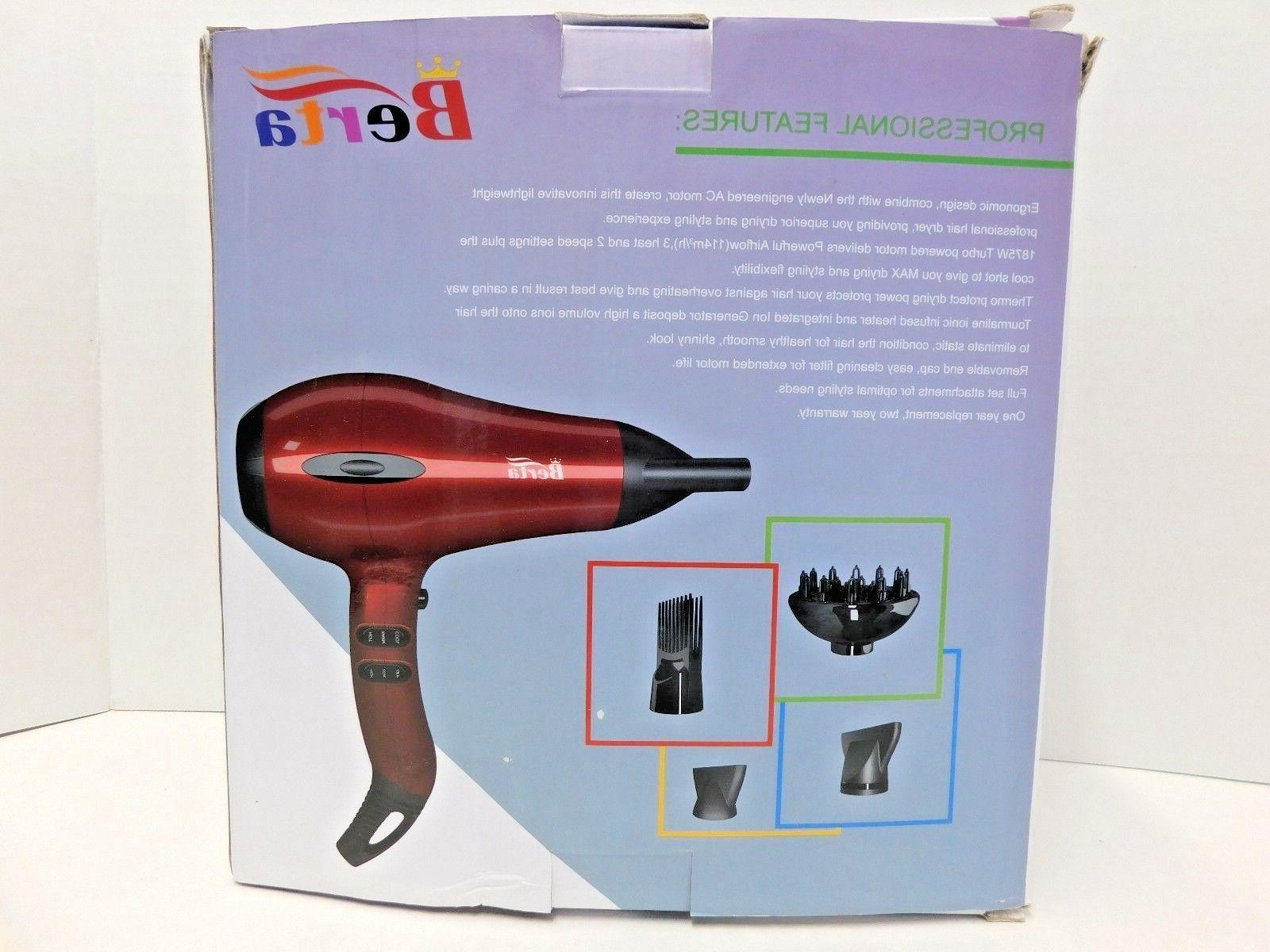 Berta 1875w 2 Speed 3 Hair With Accessories, Red
