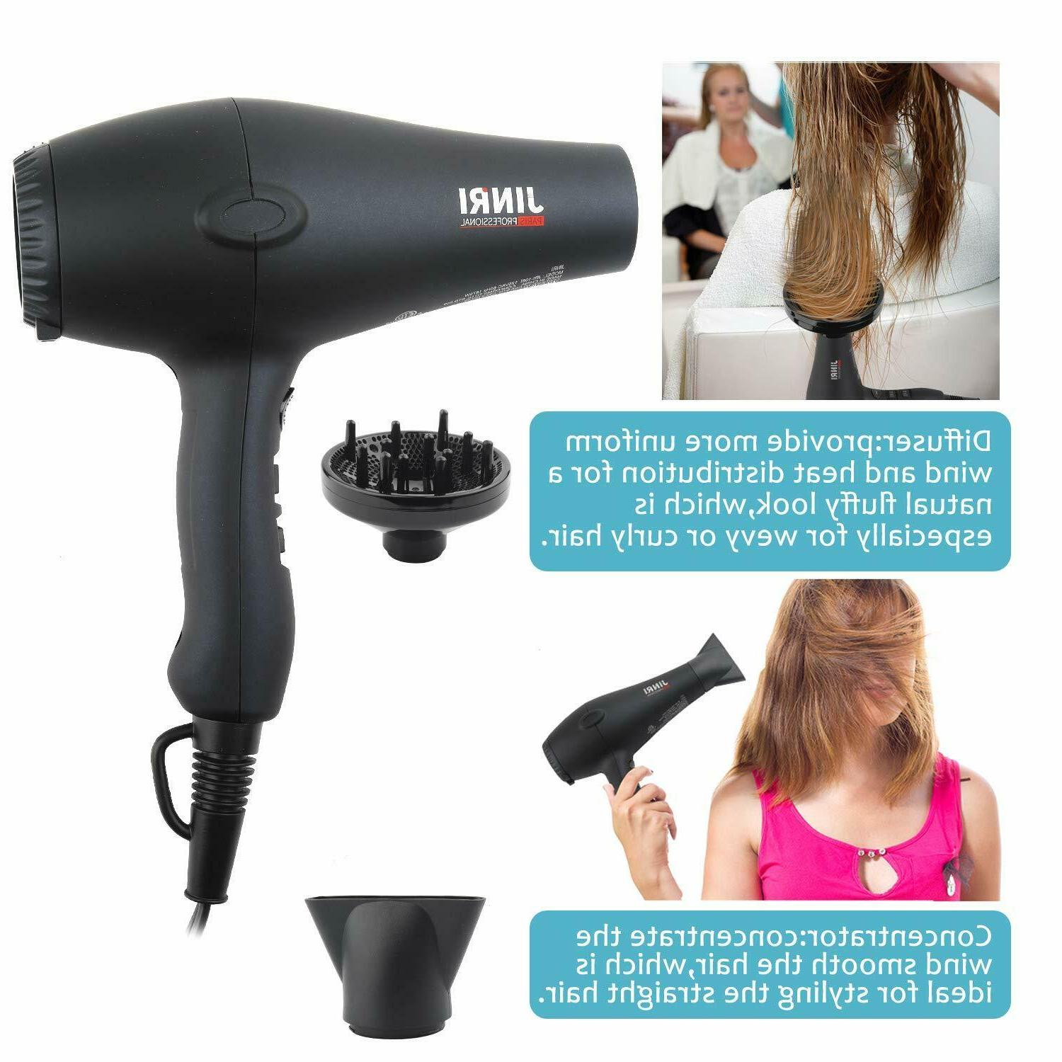 JINRI1875W Professional Tourmaline Hair Dryer with & Concentrator