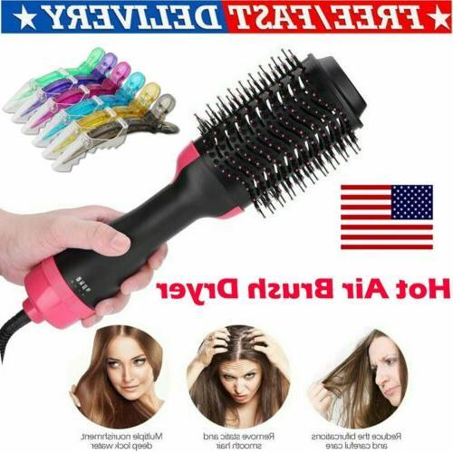 2 in1 One-Step Hair Blow Dryer & Volumizer Straightener Curl