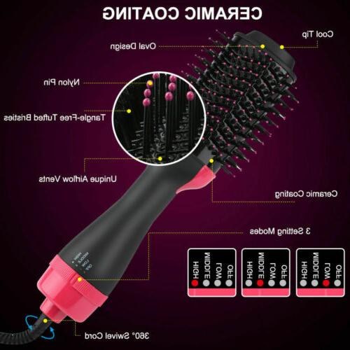 4 In1 One Hair Dryer Brush Straightening Curling Comb