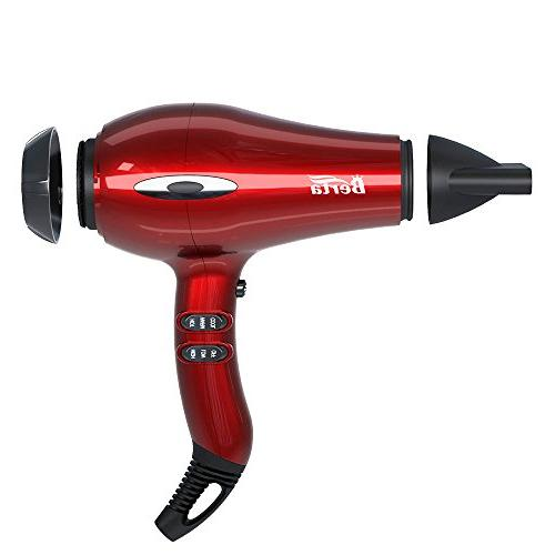 BERTA 1875W Negative Ionic Blow 4 Attachments, and 3 Heat Settings Professional motor, Red