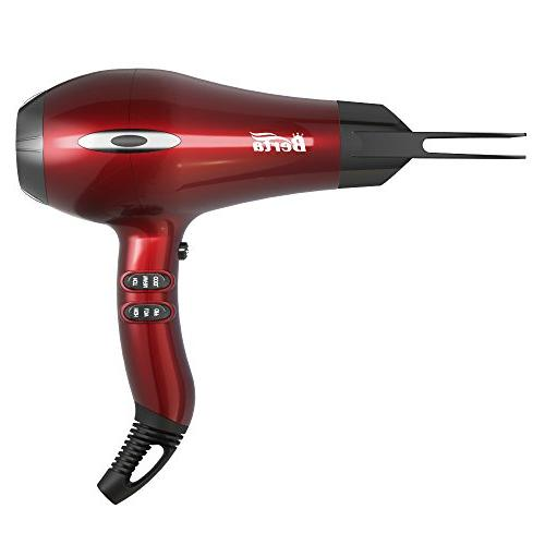 BERTA 1875W Negative 4 Attachments, and Settings Professional AC motor, Red