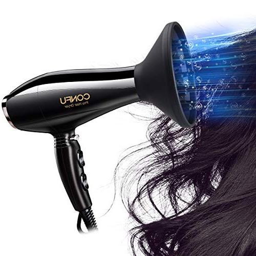 CONFU Blow Dryer Motor 2 Heat Settings Button Healthy Non Hair Certified, Black