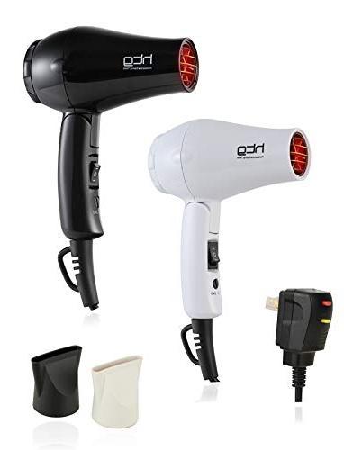 HTG 1000W Tourmaline Dual Voltage Travel Hair Dryer 120/240V