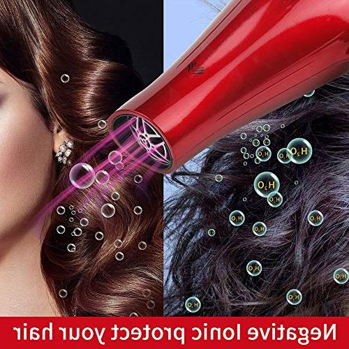 JINRI Dryers Professional Blow 1875w Tourmaline Hairdryers Light Weight salon blowdryers Ring & - RED JR-021