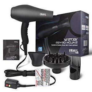 Jinri 2 Speeds Ionic Hair Dryer Diffuser and hair dryer blow dryer,Black Color