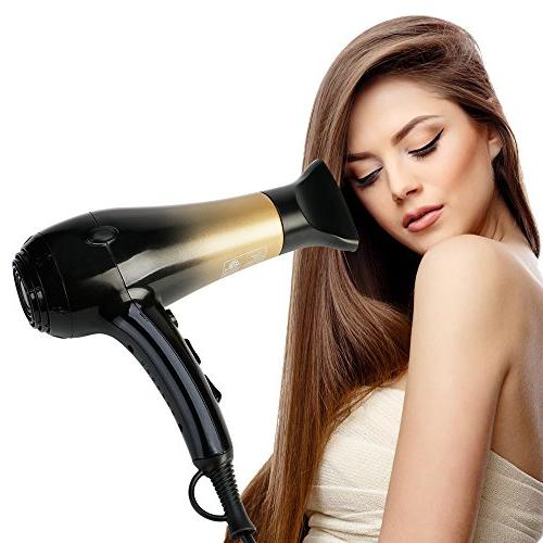 KIPOZI Hair Dryer,Nano Ionic Blow Dryer Professional Salon Blow Lightweight Fast Dry Noise,with Speed Setting