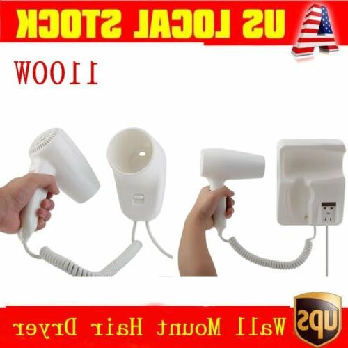 Bathroom Wall Mount Hair Dryer 1100 Watts Home Hotel Mounted