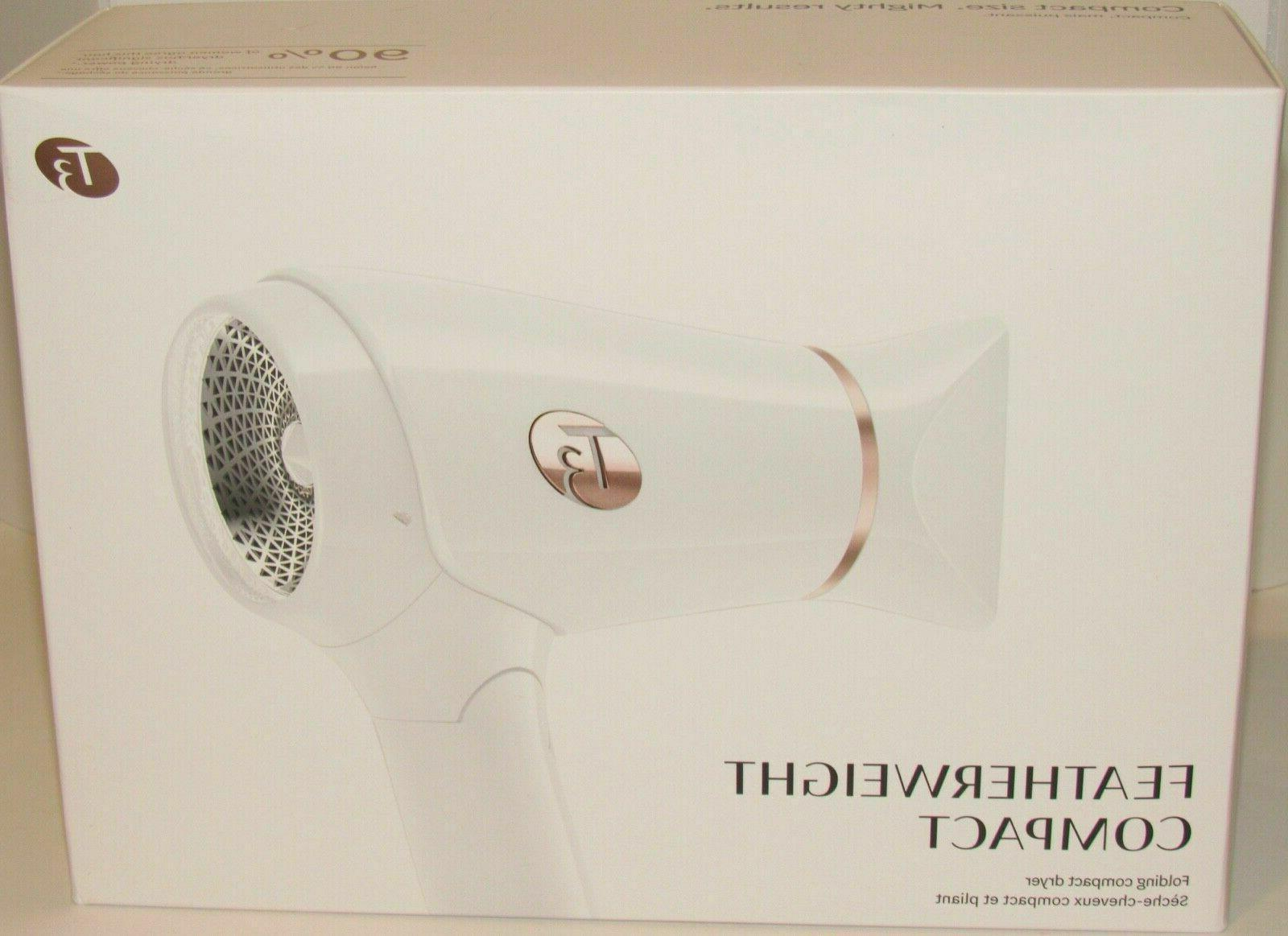 featherweight compact folding hair blow dryer white