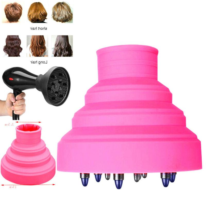 foldable hairdressing silicone curly hair blow dryer