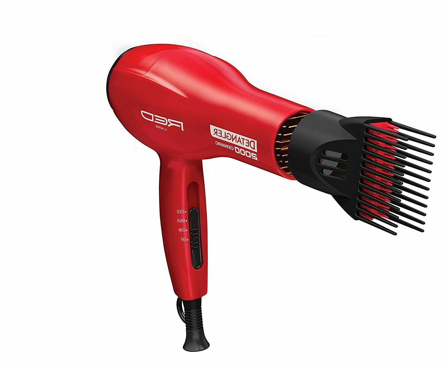 Kiss Products Red Detangler Dryer Plus 3 Attachments, 1.75 P