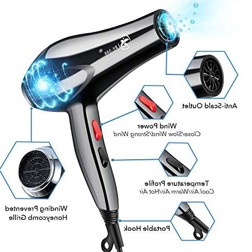 Hair Dryer Professional 3000W Negative Ionic Low Hairdryers with Diffuser,Nozzle and Comb US