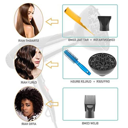 Hair Professional 3000W PluieSoleil 2 Speed Setting and 5 Attachments for Curly Straight Hair