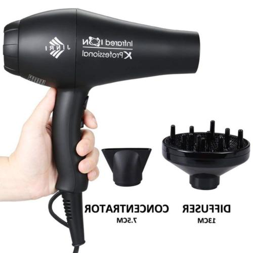 Jinri Hair Dryer with Diffuser Professional Far Infrared Blo