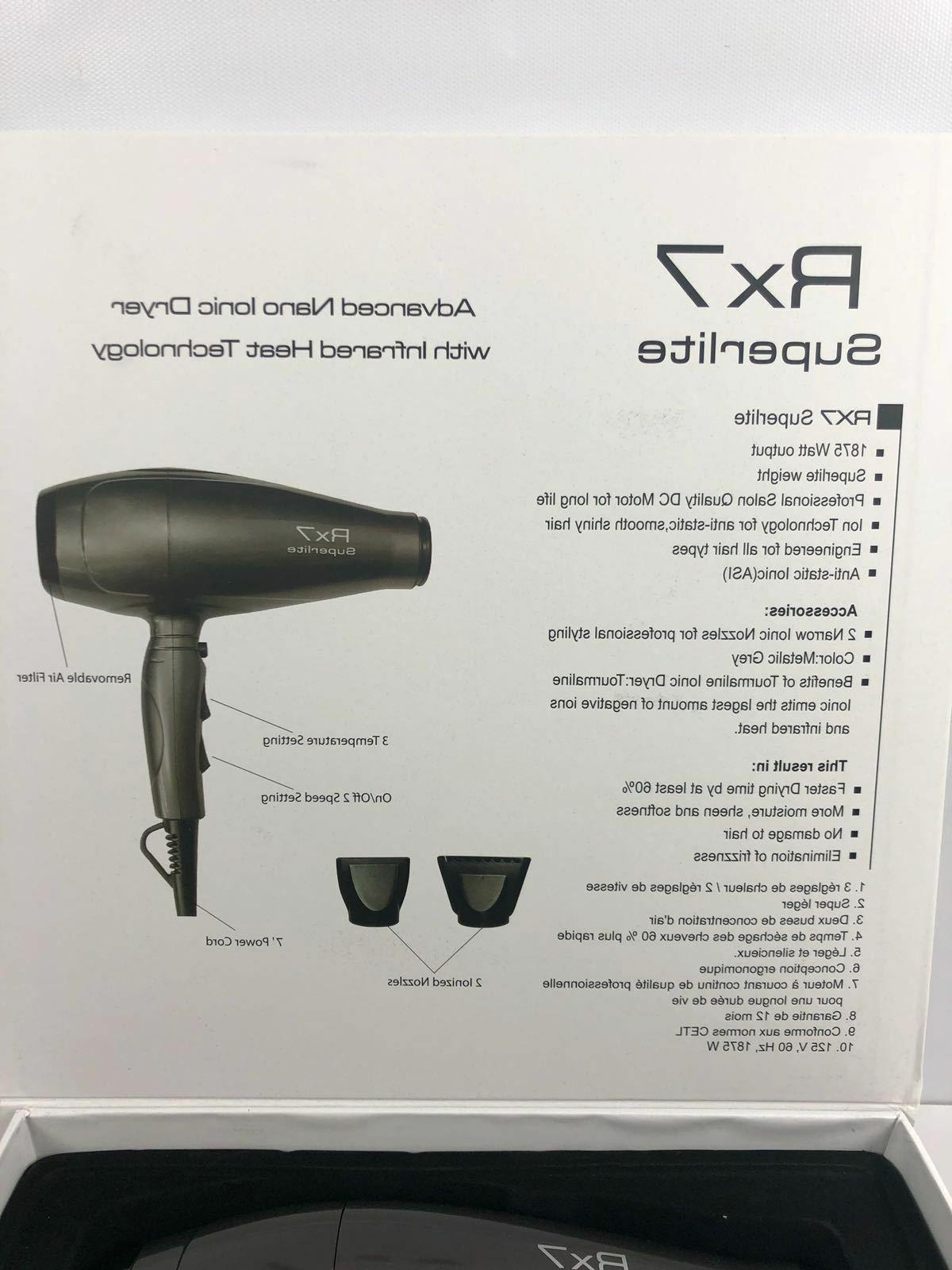 RX7 Superlite Ionic Hair Dark Grey 56 Ounce-NEW