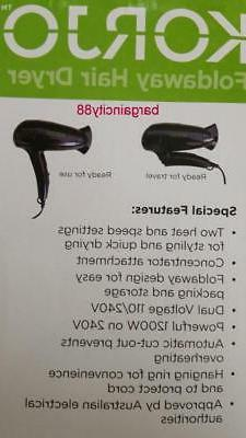 Korjo Small Size Foldable Compact Hair Dryer/Hairdryer/