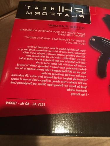 New HEAT Platform Nano Salon Powerful Tourmaline Hair Dryer