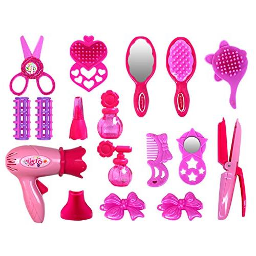 Lanlan Beauty Salon Toys Beauty Case with Hairdryer Comb Perfume Bottle Girls Pretend Play