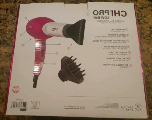 NWT CHI EMF Pro Hair Dryer w/ Nozzle + Hot