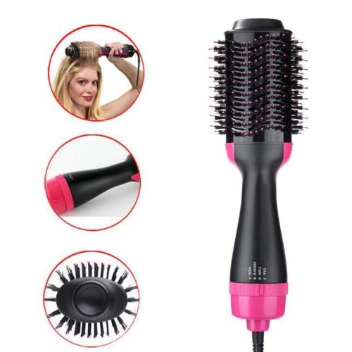 Hair Dryer One Step Volumizer Curling Oval Brush Bristles Co