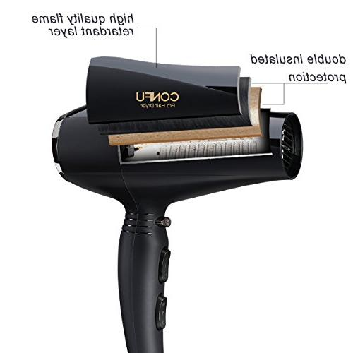 CONFU Ionic Blow Dryer with Motor 2 Speed 3 Heat Settings Button Fast Drying Healthy Non Frizzy Hair Certified, Black