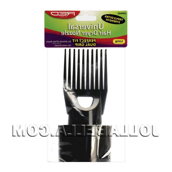 red universal hair dryer nozzle attachment comb