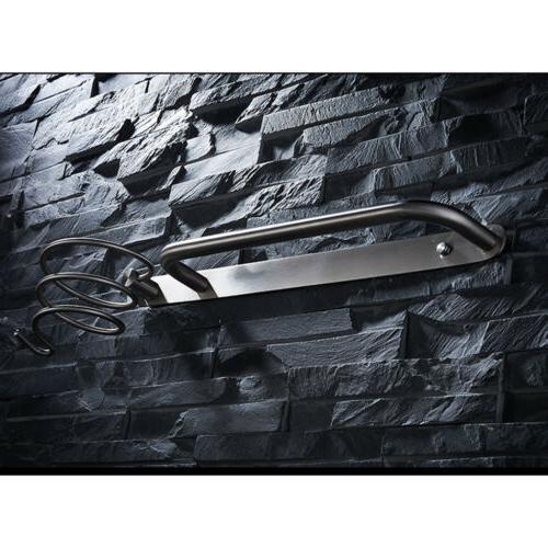 MagiDeal Stainless Steel Wall Mount Hair Dryer Holder Rack H