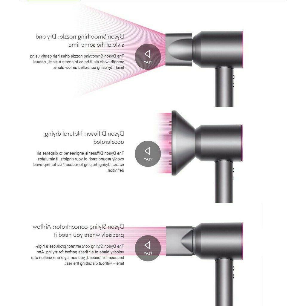 Dyson Hair Dryer w/Attachments & Accessories Black Nickel Sealed!