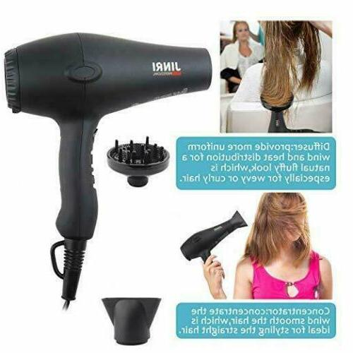 JINRI Tourmaline Hair Dryer Negative Blow 1875w Black New
