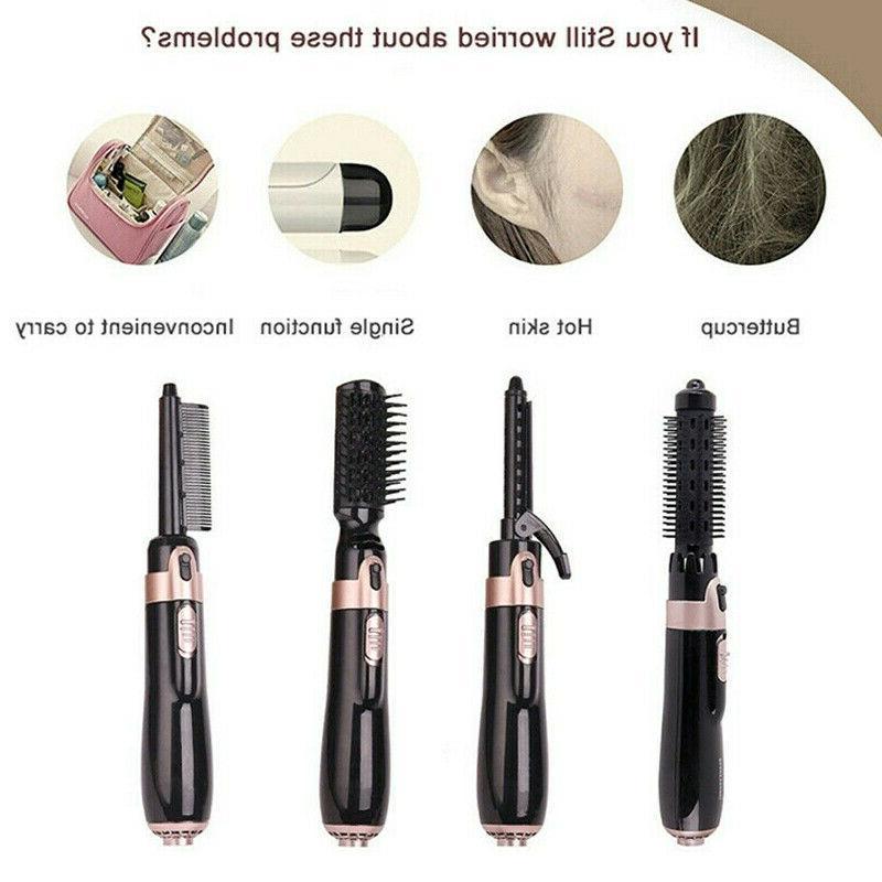 US 4 Hair Brush Hot Air Comb Straightening Iron