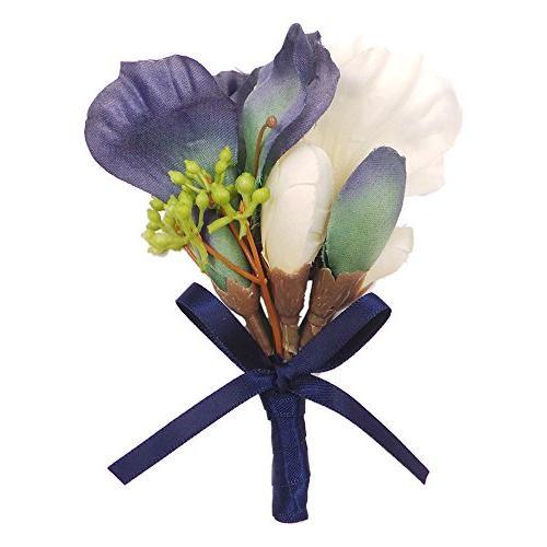 Abbie Home White Magnolia Prom Boutonniere Set Elegant Wedding Flower