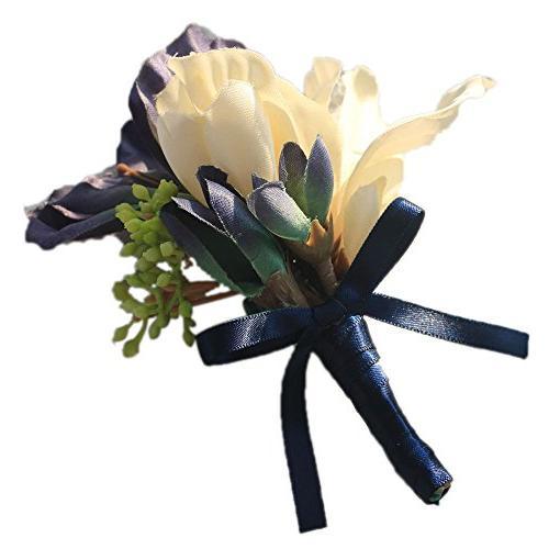Abbie Home Magnolia Prom Corsage Boutonniere Set Elegant Flower