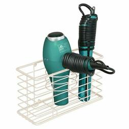 mDesign Metal Wall Mount Hair Care & Styling Tool Storage Ba