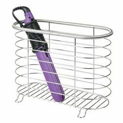 mDesign Hair Dryer & Flat Iron Holder for Bathroom - Brushed