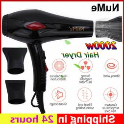 Nume 2000W Professional Hair Dryer 2 Free Nozzle Anion Fast