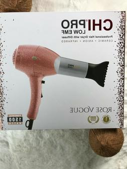 CHI PRO Low EMF Professional Hair Dryer w/ Diffuser - ROSE V