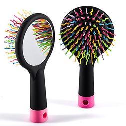 Hair Tamer Rainbow Brush With Mirror