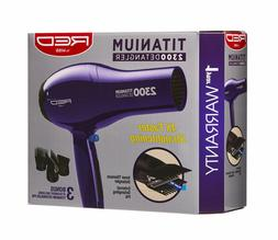 Red by Kiss Titanium 2300 Detangler Hair Dryer with 3 Attach