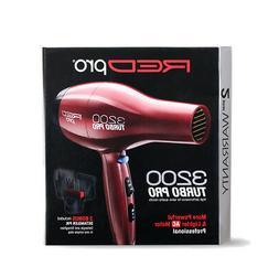 RED PRO BY KISS 3200 TURBO AC DETANGLER PIK HAIR BLOW DRYER