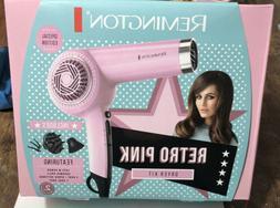 Remington Retro Hair Dryer D4100 Pink w/Attachments Special