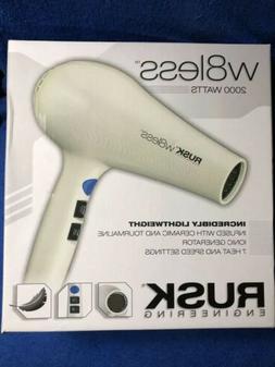 Rusk W8less Ceramic Hair Dryer New In Box 2000 Watts 7 Heat