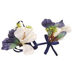Abbie Home White Magnolia Prom Wrist Corsage Boutonniere Set