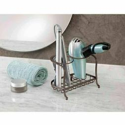 InterDesign York Lyra Hair Dryer and Flat Iron Holder, Bronz